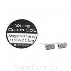 Готовая спираль WHITE CLOUD coil Staggered Fused Clapton 0.30 2.5mm 2шт