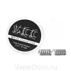 Готовая спираль WHITE CLOUD Triple Fused Clapton 0.2 3 mm 2шт
